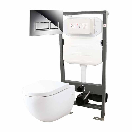 Abacus Essentials Wall Hung WC Frame With Opaz WC Pack And Trend Flush Plate - White