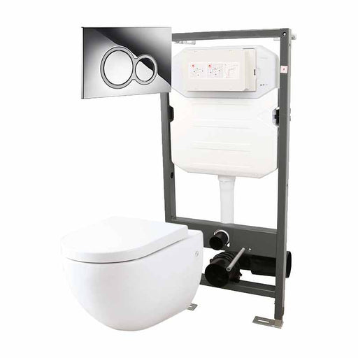 Abacus Essentials Wall Hung WC Frame With Opaz WC Pack And ISO Flush Plate - White