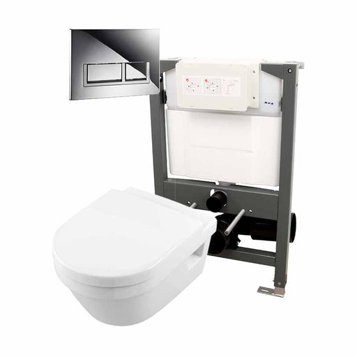 Abacus Essentials Wall Hung WC Frame With Opaz2 WC Pack And Trend Flush Plate - White