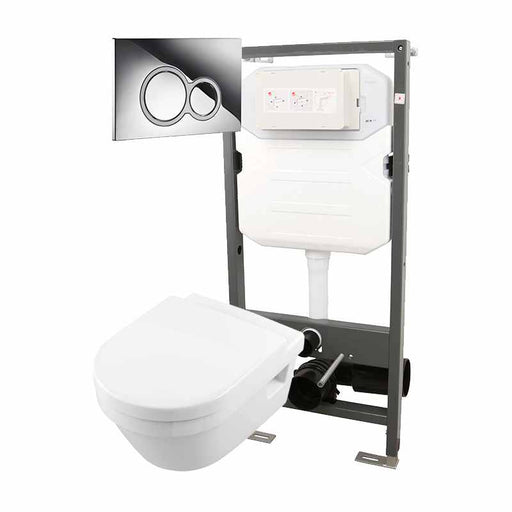 Abacus Essentials Wall Hung WC Frame With Opaz2 WC Pack And ISO Flush Plate - White