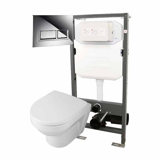 Abacus Essentials Wall Hung WC Frame With Opaz2 Compact WC Pack And Trend Flush Plate - White