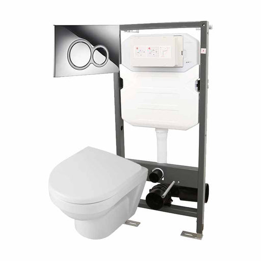 Abacus Essentials Wall Hung WC Frame With Opaz2 Compact WC Pack And ISO Flush Plate - White