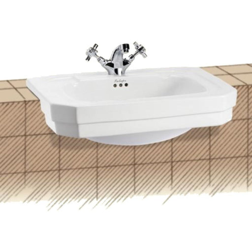 Burlington Semi Recessed Basin 58 x 47cm - White