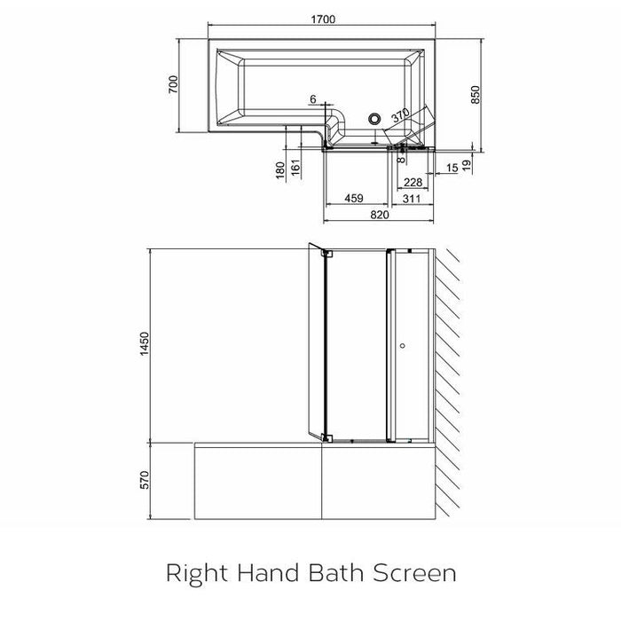 Cleargreen Ecosquare Bath Screen with access panel - Chrome