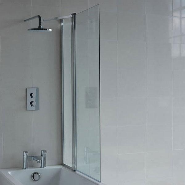 Britton Cleargreen Hinged Bath Screen with with inline panel