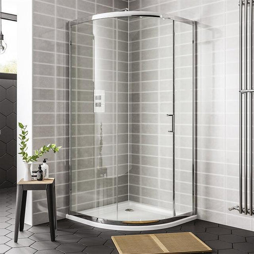 Essential Spring 1 Door Offset Quadrant Shower Enclosure - Chrome
