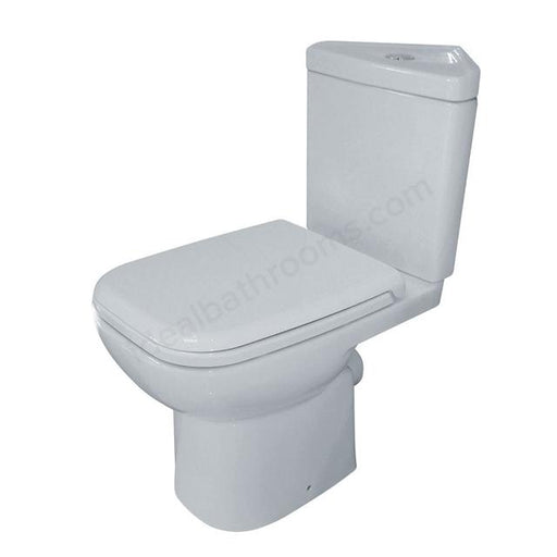 Essential Violet Corner Close Coupled Toilet With Cistern - Soft Close Seat - White
