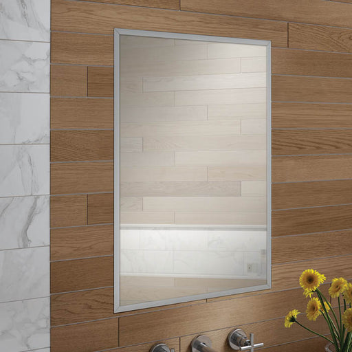 HiB Essence Aluminium 1 Door Ressed Mirror Cabinet