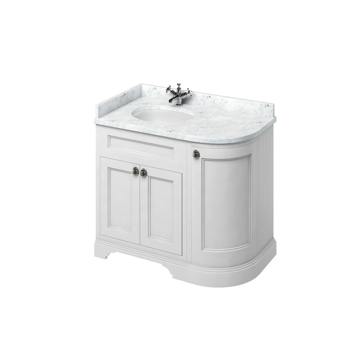 Burlington Freestanding 100cm Curved Corner Vanity with Worktop