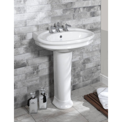 Silverdale Hillingdon White 650mm Basin with Pedestal