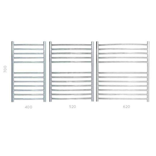 JIS Camber Heated Towel Rail - Stainless Steel