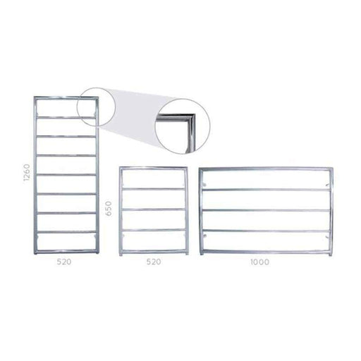 JIS Alfriston  Heated Towel Rail - Stainless Steel