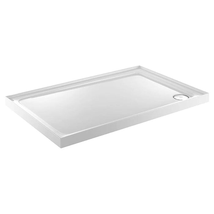 Just Trays Fusion Rectangular Shower Tray With 3 Upstands And Waste - Flat Top - White
