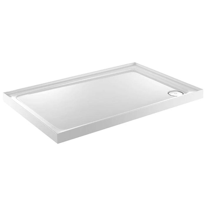 Just Trays Fusion Flat Top Anti-Slip  Rectangular Shower Tray with Waste And  4 Upstand - White