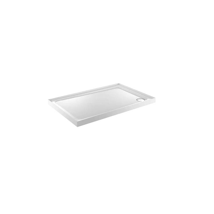 Just Trays Fusion Anti-Slip Rectangular Shower Tray With 3 Upstands And Waste - Flat Top - White