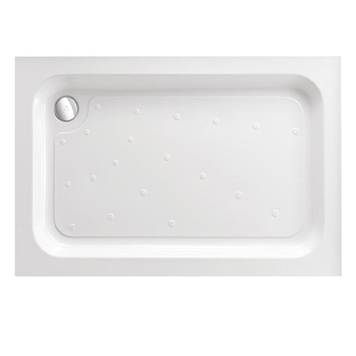 Just Trays Merlin Flat Top Rectangular Shower Tray With Four Upstands - White
