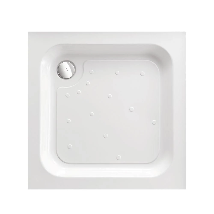 Just Trays Ultracast Anti-Slip Square Shower Tray With 4 Upstands - White