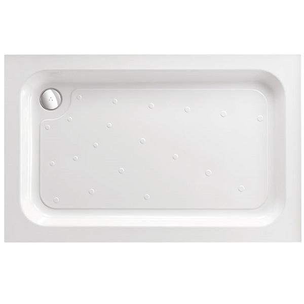 Just Trays Fusion Anti-Slip Rectangular Shower Tray with Waste And 3 Upstand - 900mm x 760mm - White