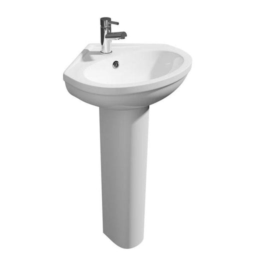 Kartell Lifestyle Corner Basin - Full Pedestal - 480mm wide - 1 Tap Hole - White