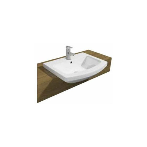 Kartell Trim Semi Recessed Basin - 500mm Wide - 1 Tap Hole - White