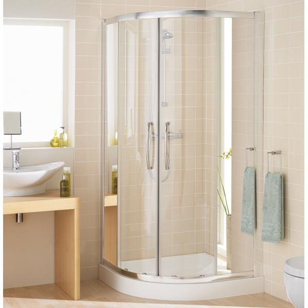 Lakes Mirror Single Rail Offset Quadrant Shower Enclosure - Silver