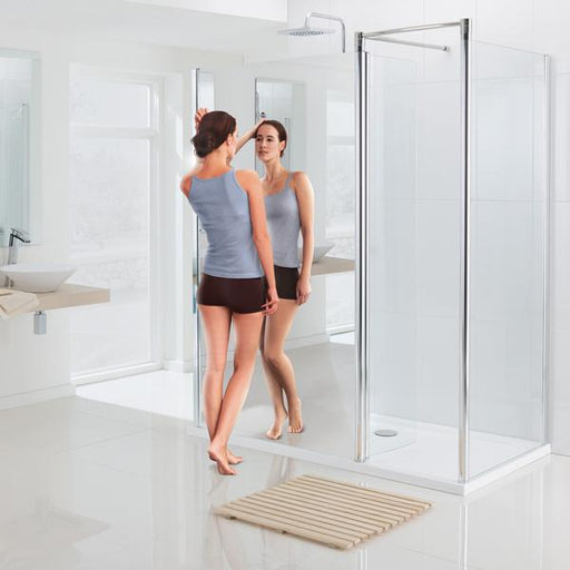 Lakes Mirror Walk-In Shower Enclosure - Silver