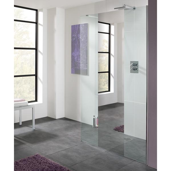 Lakes Mirror Cannes Walk-In Shower Screen - Silver