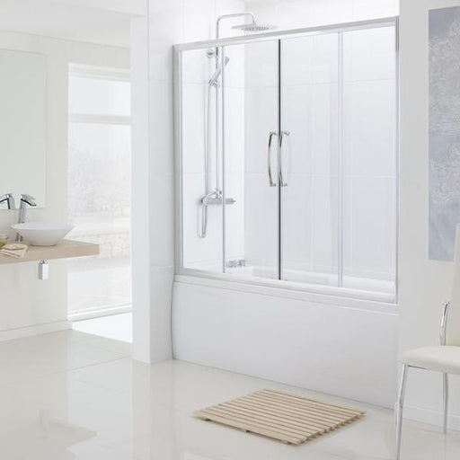 Lakes Oval Semi Frameless Bath Double Slider Door - Silver