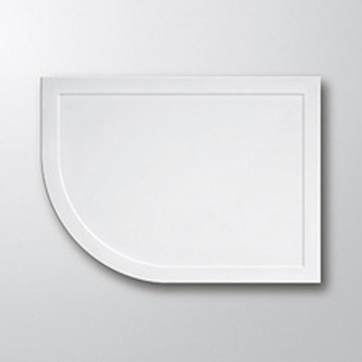 Lakes Low Profile Offset Quadrant Shower Tray - Stone Resin - White