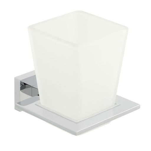 Vado Level Frosted Glass Tumbler And Holder Wall Mounted