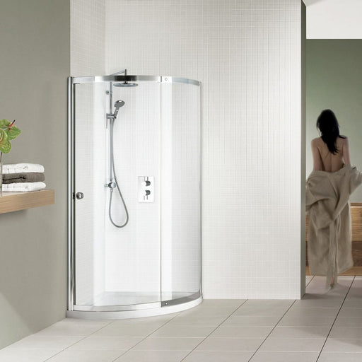 Matki Colonade Curved Corner Enclosure And Shower  Tray - White