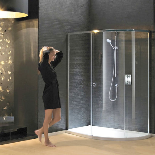 Matki New Radiance Curved Offset Shower Enclosure And Slimline Tray