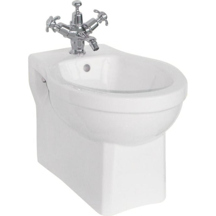 Burlington Wall Hung Bidet 35.5 x 50cm one tap hole - White