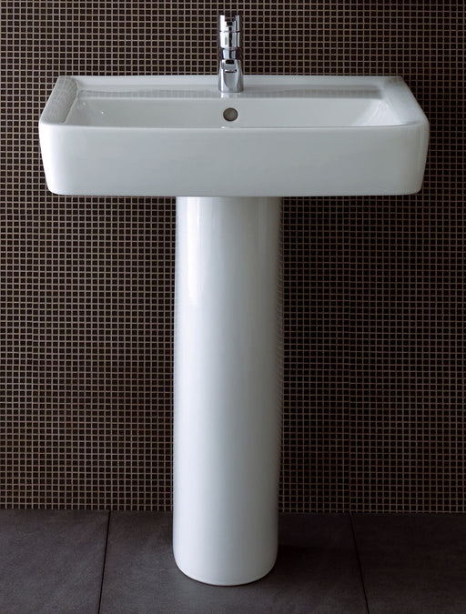 Twyford Galerie Plan Rectangular Basin With Full Pedestal - 650mm Wide - 1 Tap Hole - White