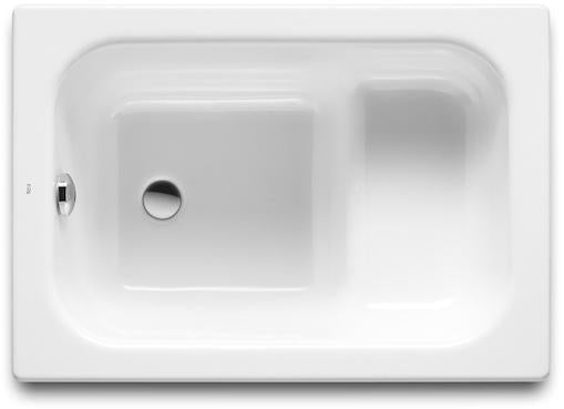 Roca Contesa Single Ended Rectangular Steel Hip Bath - 0 Tap Hole - White