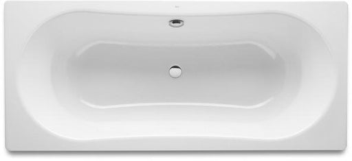 Roca Duo Plus Anti-slip Double Ended Rectangular Steel Bath - 0 Tap Hole - White