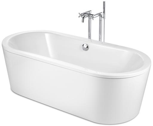 Roca Duo Plus Oval Freestanding Rectangular Steel Bath - 0 Tap Hole - White