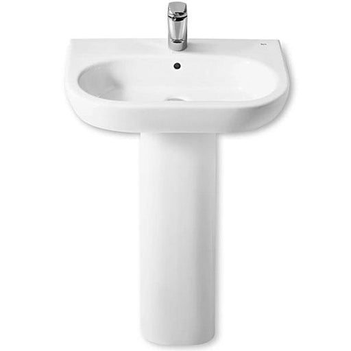 Roca Meridian-N Round Basin With Full Pedestal - 1 Tap Hole - White