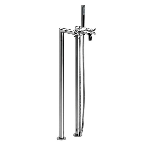 Roca Loft Floor Standing Columns Bath Shower Mixer Tap With Kit - Chrome