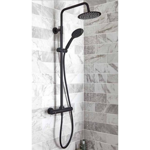 Kartell Nero Thermostatic Exposed Bar Shower With Overhead Drencher and Sliding Handset