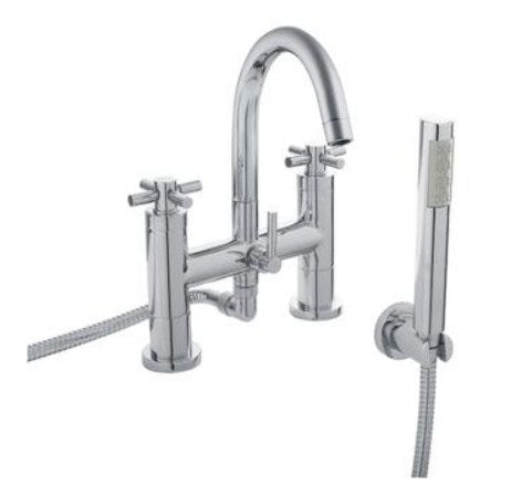 Hudson Reed TEC Cross Bath Shower Mixer With swivel spout, shower kit and wall bracket