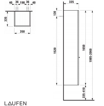 Laufen Palace Tall Cabinet 1 door, 4 glass shelves