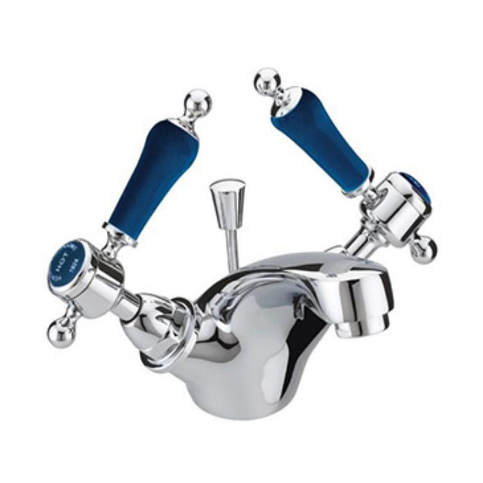 Heritage Glastonbury Basin Mixer Blue Handles, Chrome