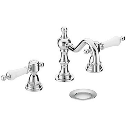 Heritage Glastonbury 3TH Swivel Spout Mixer White Handles