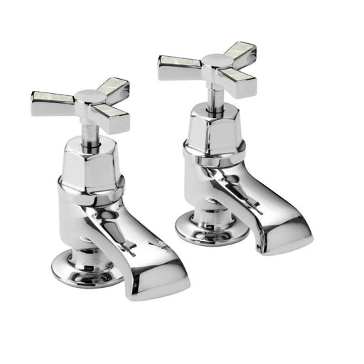 Heritage Gracechurch Bath Taps Chrome & Mother of Pearl Inlay