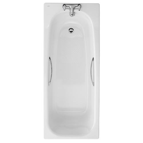Twyford Shallow Steel Bath with Grip and Antislip - 1500mm x 700mm - 2 Tap Holes - White