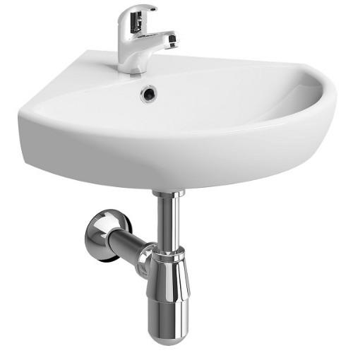 Twyford E100 Corner Basin With Full Pedestal - 590mm Wide - 1 Tap Hole - White