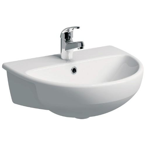 Twyford E100 Round Semi-Recessed Basin - 550mm Wide - White