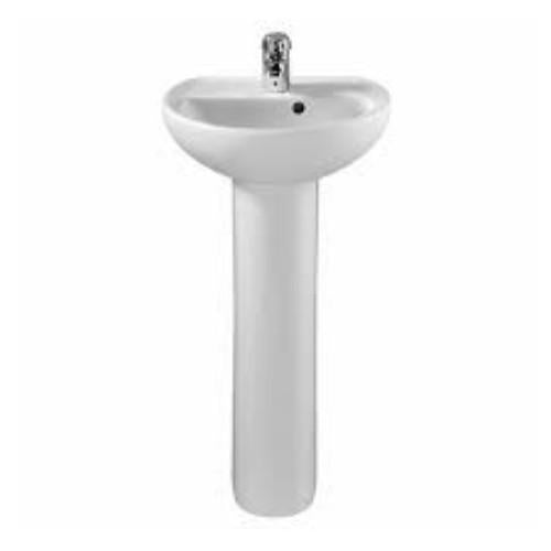 Twyford E100 Round Basin With Full Pedestal - White