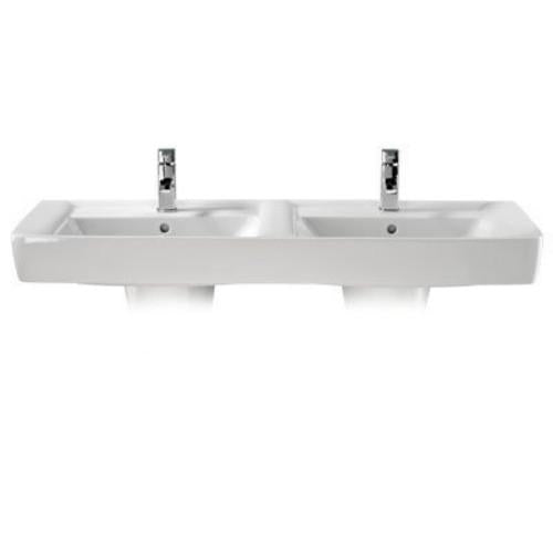 Twyford Galerie Plan Wall Hung Double Basin - 1300mm Wide - 2 Tap Hole - White